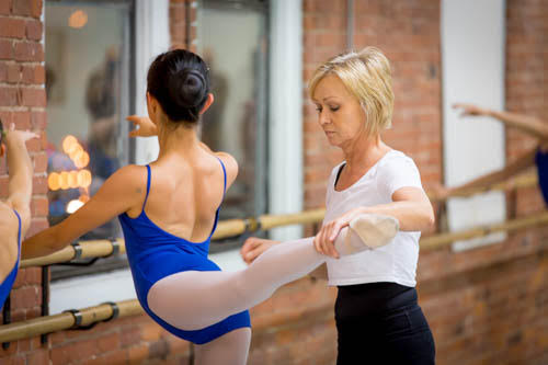 student at the barre