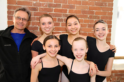 Artistic Director Yuri Vodolaga with YAGP participants, from left, Celia Volkwein, Ester Wells, Lindsey Wales, Juliette Bosco and Elisabeth Beyer.  Photo Credit: Greenwich Post.