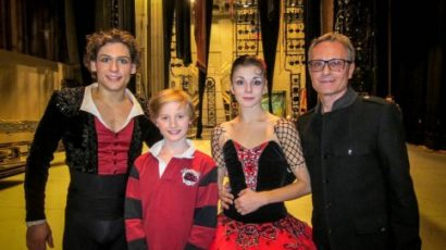 """Old Greenwich dancer Aidan Buss, 12, is pictured backstage with Russian dancers Ivan Vasiliev and Natalia Osipova at the conclusion of the final performance of """"Don Quixote."""" On the right is Yuri Voldolaga, artistic director at Greenwich Ballet Academy."""