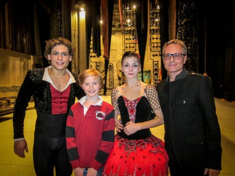 "Old Greenwich dancer Aidan Buss, 12, is pictured backstage with Russian dancers Ivan Vasiliev and Natalia Osipova at the conclusion of the final performance of ""Don Quixote."" On the right is Yuri Voldolaga, artistic director at Greenwich Ballet Academy."