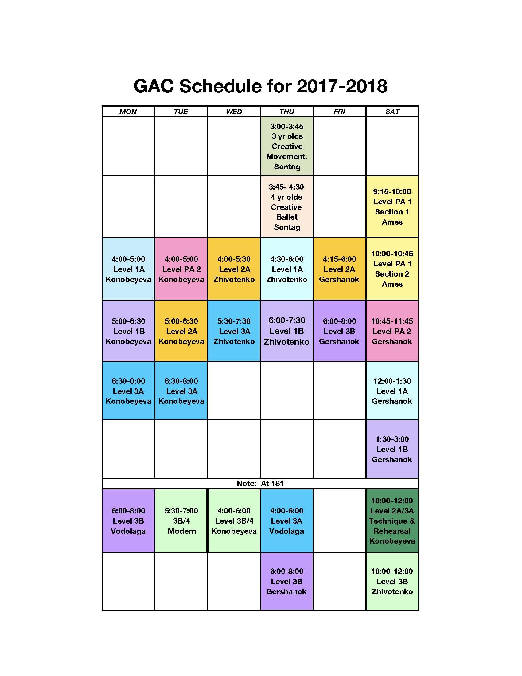 GBA GAC Spring 2018
